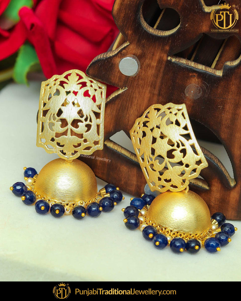 Gold Finished Blue Jhumki Pearl Earrings | Punjabi Traditional Jewellery Exclusive