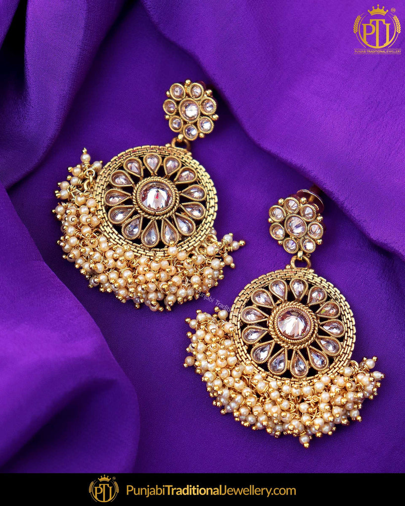 Gold Finished Pearl Chamapgne Stone Earrings | Punjabi Traditional Jewellery Exclusive