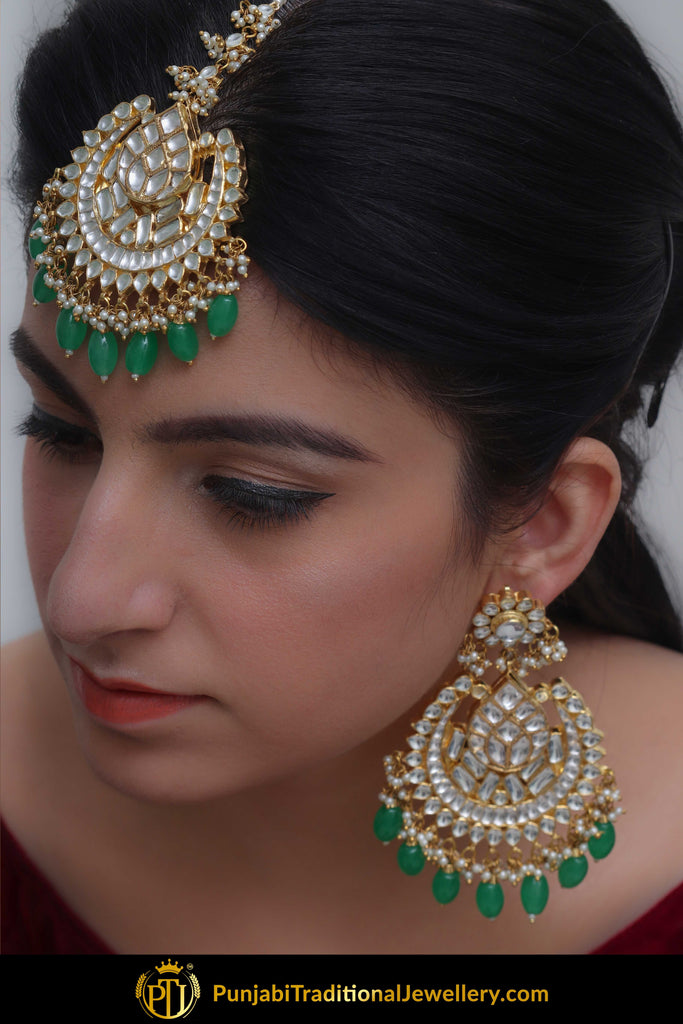 Hafeezah Emerald Kundan Earring Tikka Set | Punjabi Traditional Jewellery Exclusive