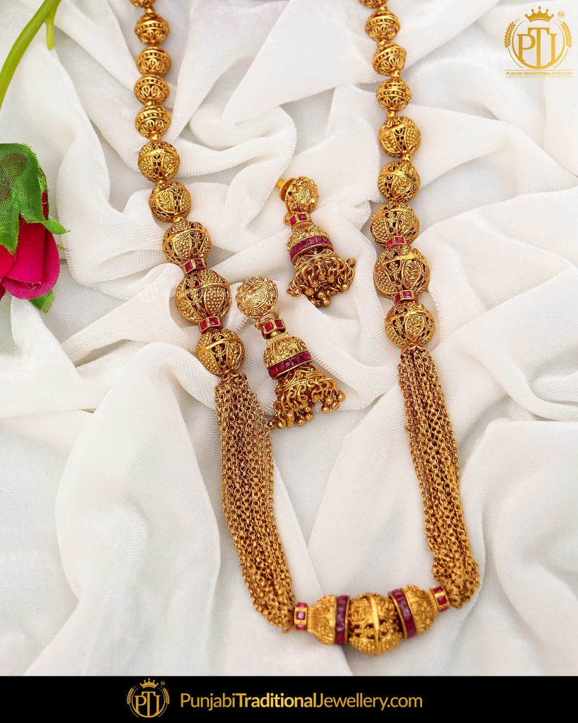 Antique Gold Finished Rubby Johda long Set  | Punjabi Traditional Jewellery Exclusive