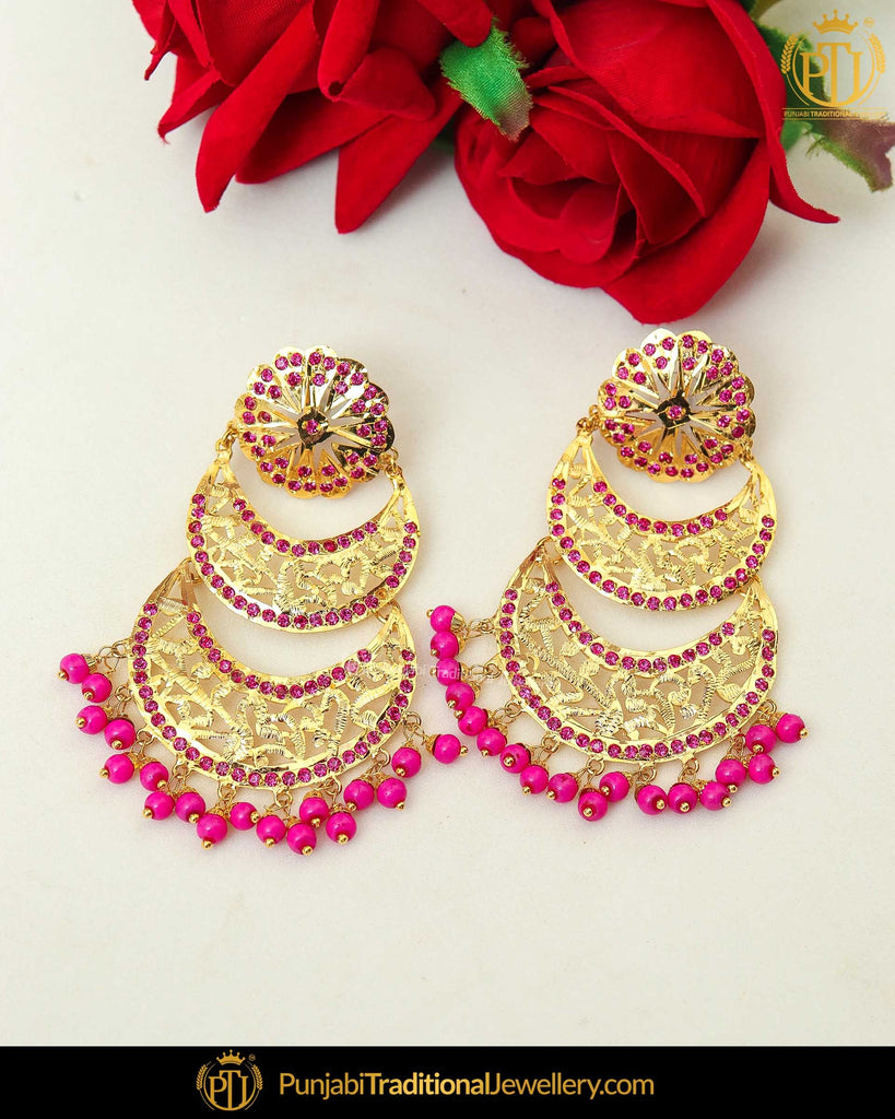 Gold Finished Pink Jadau Pearl Earrings | Punjabi Traditional Jewellery Exclusive