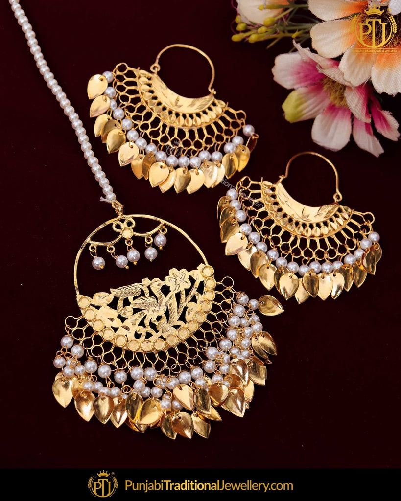 Gold Finished Pearl Pippal Patti Patra Earrring Tikka Set | Punjabi Traditional Jewellery Exclusive