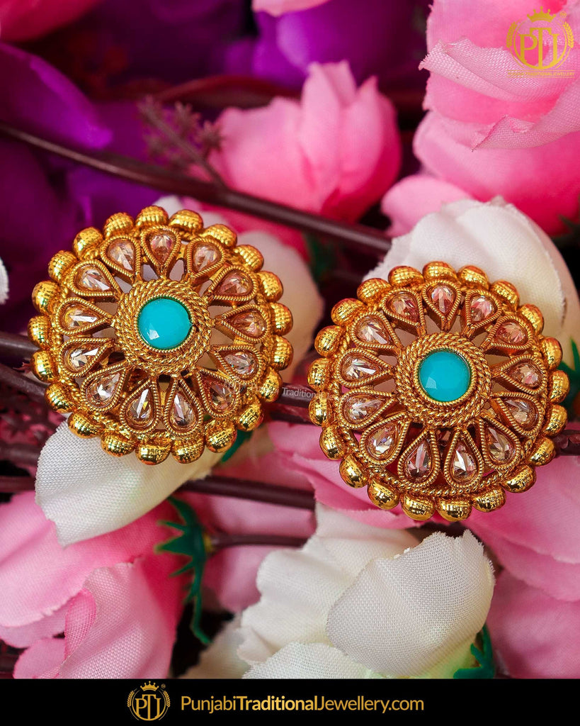 Gold Finished Firozi Chamapgne Stone Stud Earrings | Punjabi Traditional Jewellery Exclusive