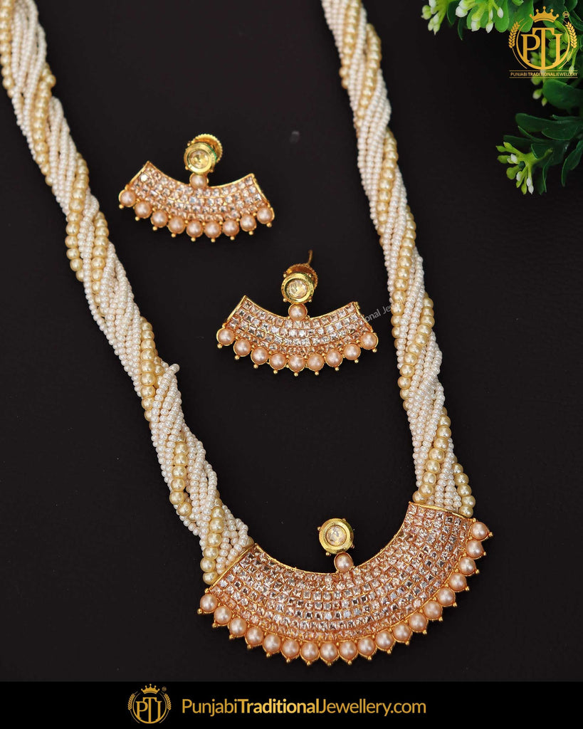 Gold Finished Jerkan Stone Pearl Mala Necklace Set | Punjabi Traditional Jewellery Exclusive