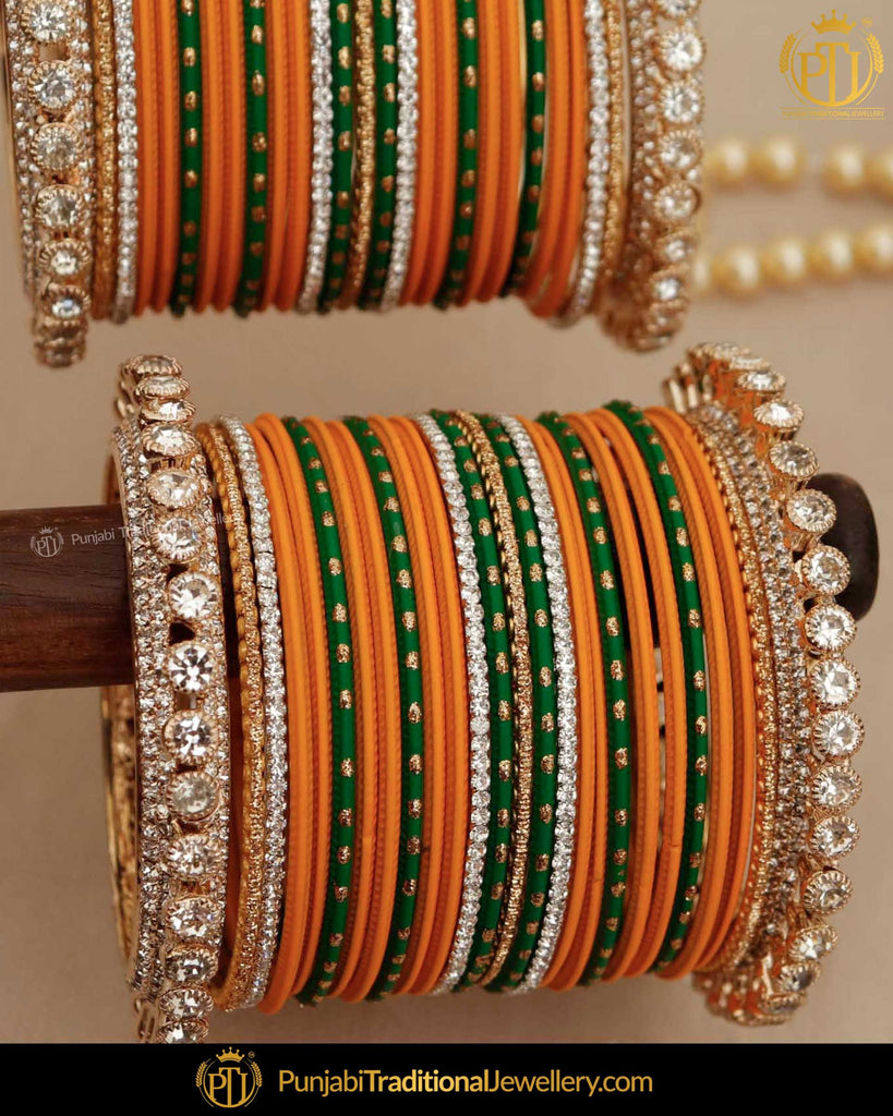 Mango Yellow & Green (For Both Hands) Bangles Set | Punjabi Traditional Jewellery Exclusive