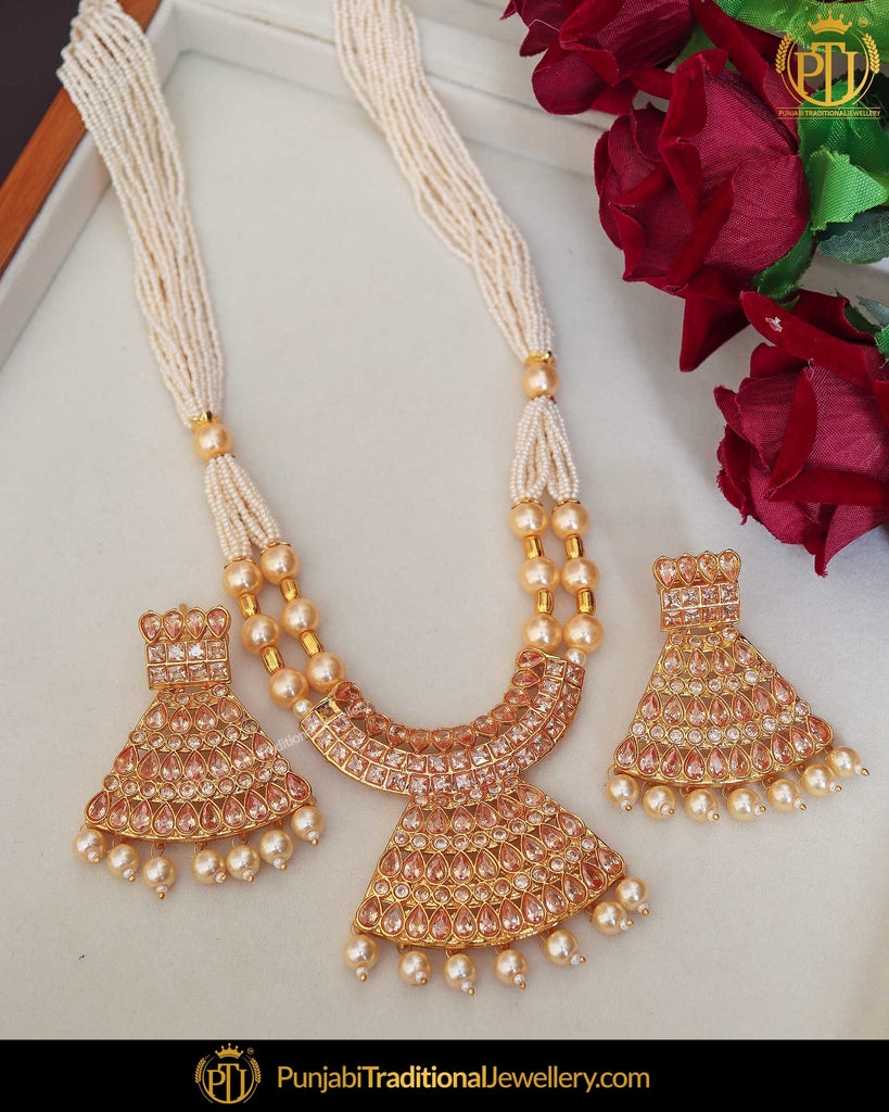 Gold Finished Chamapgne Stone Pearl Mala Necklace Set | Punjabi Traditional Jewellery Exclusive