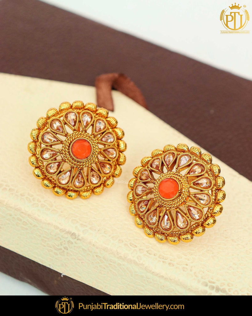 Gold Finished Oragne  Chamapgne Stone Stud Earrings | Punjabi Traditional Jewellery Exclusive