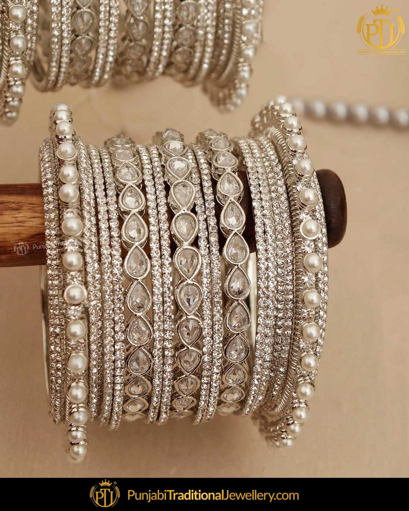 Silver Jerkan Pearl (For Both Hands) Bangles Set | Punjabi Traditional Jewellery Exclusive