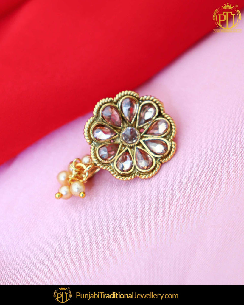 Gold Finished Polki Stone Without hole Nose Pin| Punjabi Traditional Jewellery Exclusive