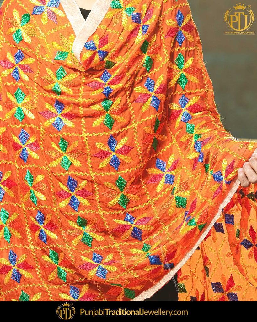 Orange Shade Satrangi Color Phulkari | Punjabi Traditional Jewellery Exclusive