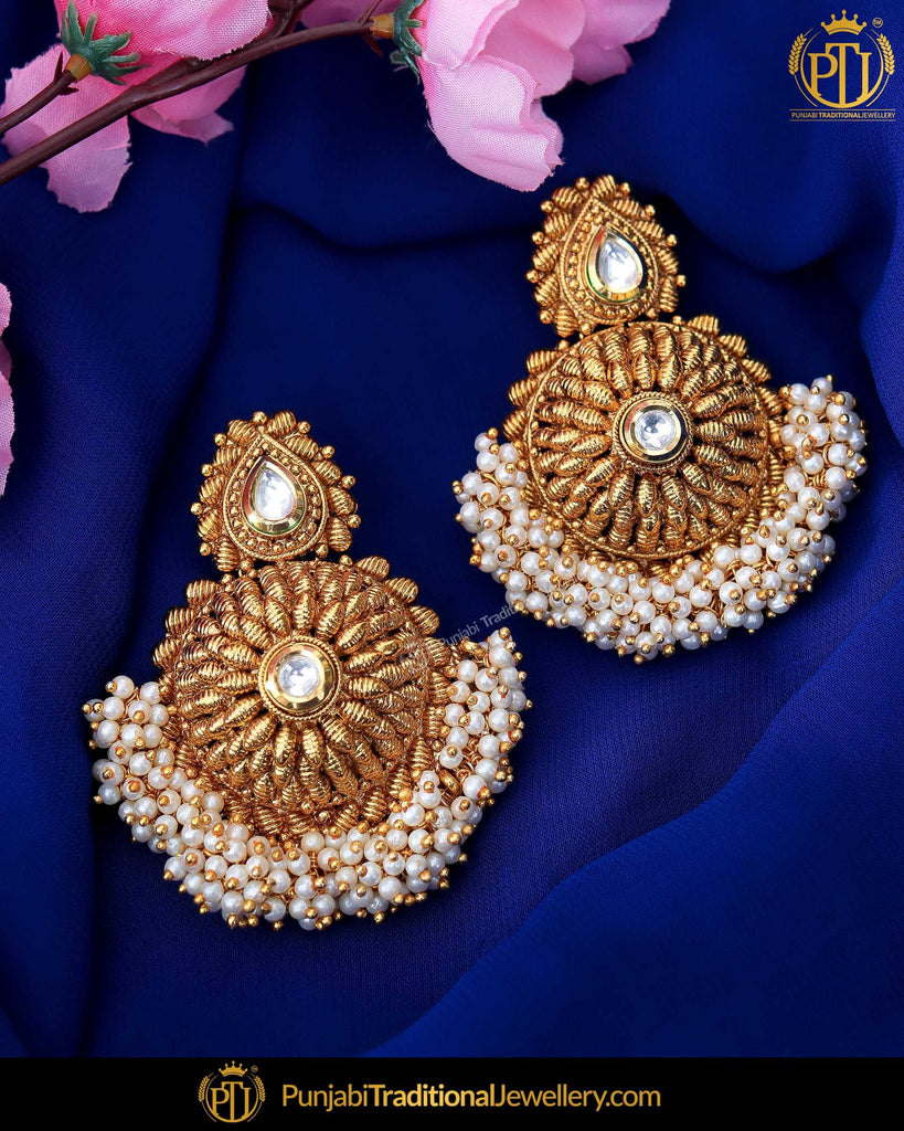 Antique Gold Finished Kundan Earrings | Punjabi Traditional Jewellery Exclusive