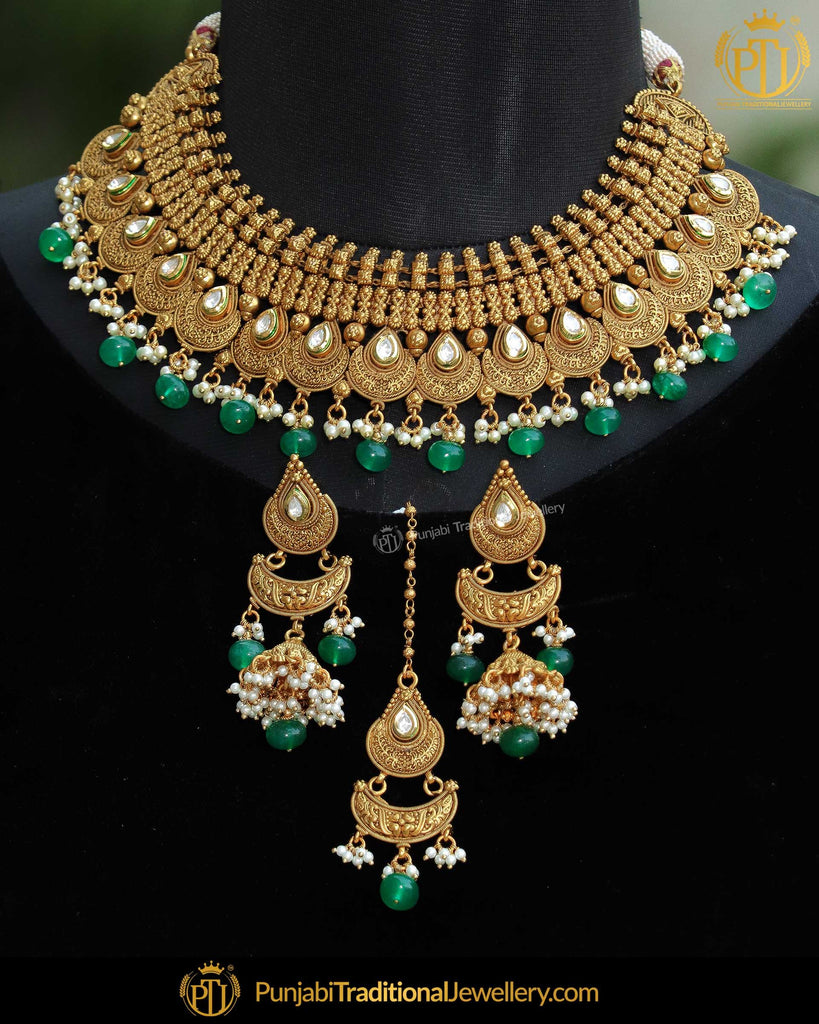 Antique Gold Finished Johda Kundan Emerlad Mala Necklace Set | Punjabi Traditional Jewellery Exclusive