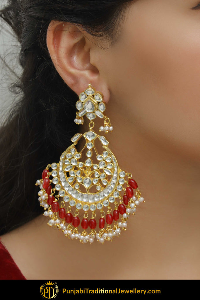 Kayan Red Kundan Earrings | Punjabi Traditional Jewellery Exclusive