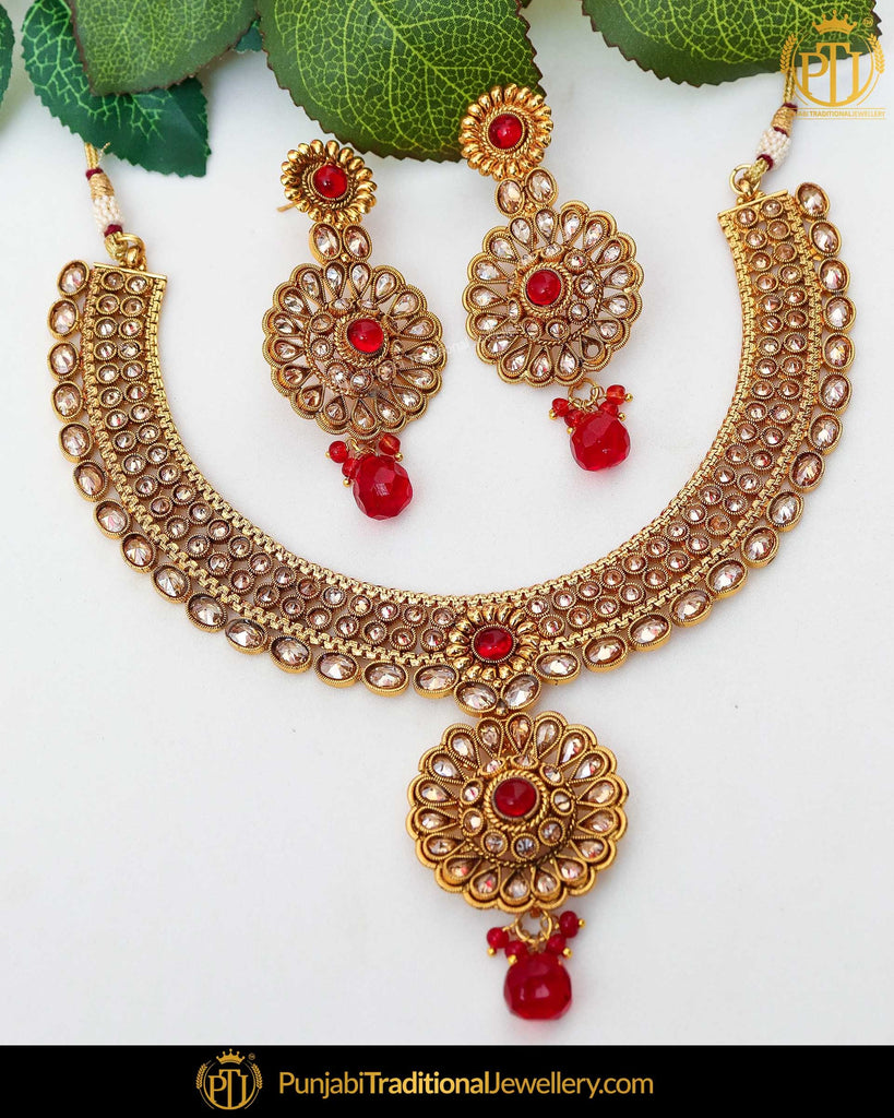Gold Finished Champagne Stone Rubby Pearl Necklace Set  | Punjabi Traditional Jewellery Exclusive