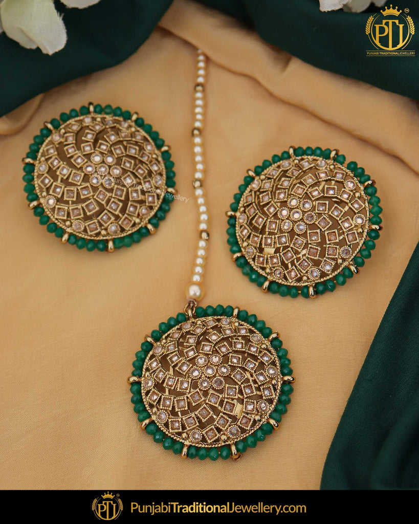 Gold Finished Green Champagne Stone Stud Earring Tikka Set | Punjabi Traditional Jewellery Exclusive