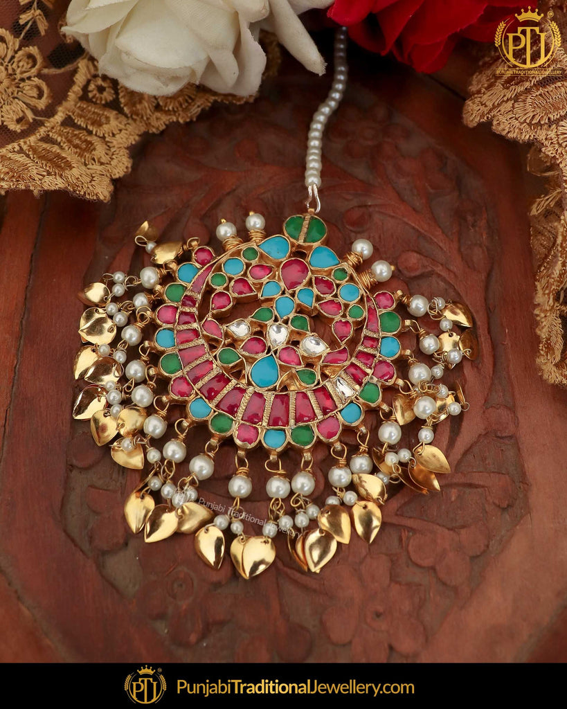Gold Finished Kundan Firozi & Red Pippal Patti Pearl Tikka | Punjabi Traditional Jewellery Exclusive