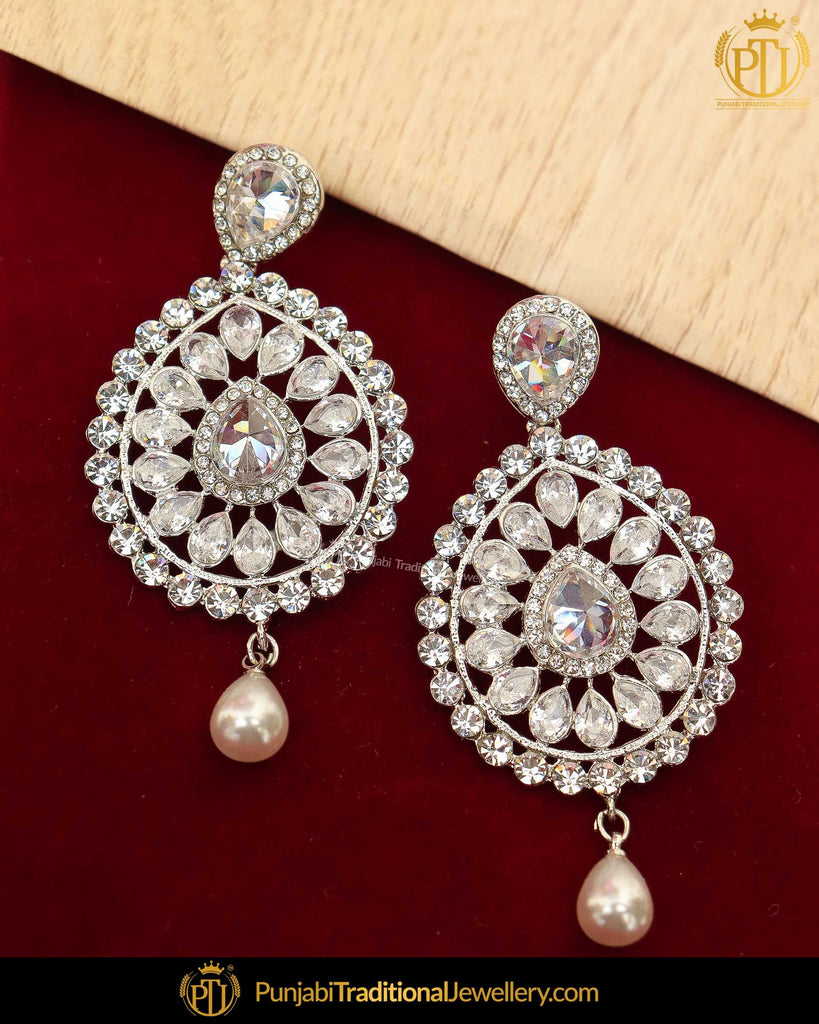 Silver Finsihed Polki Earrings | Punjabi Traditional Jewellery Exclusive