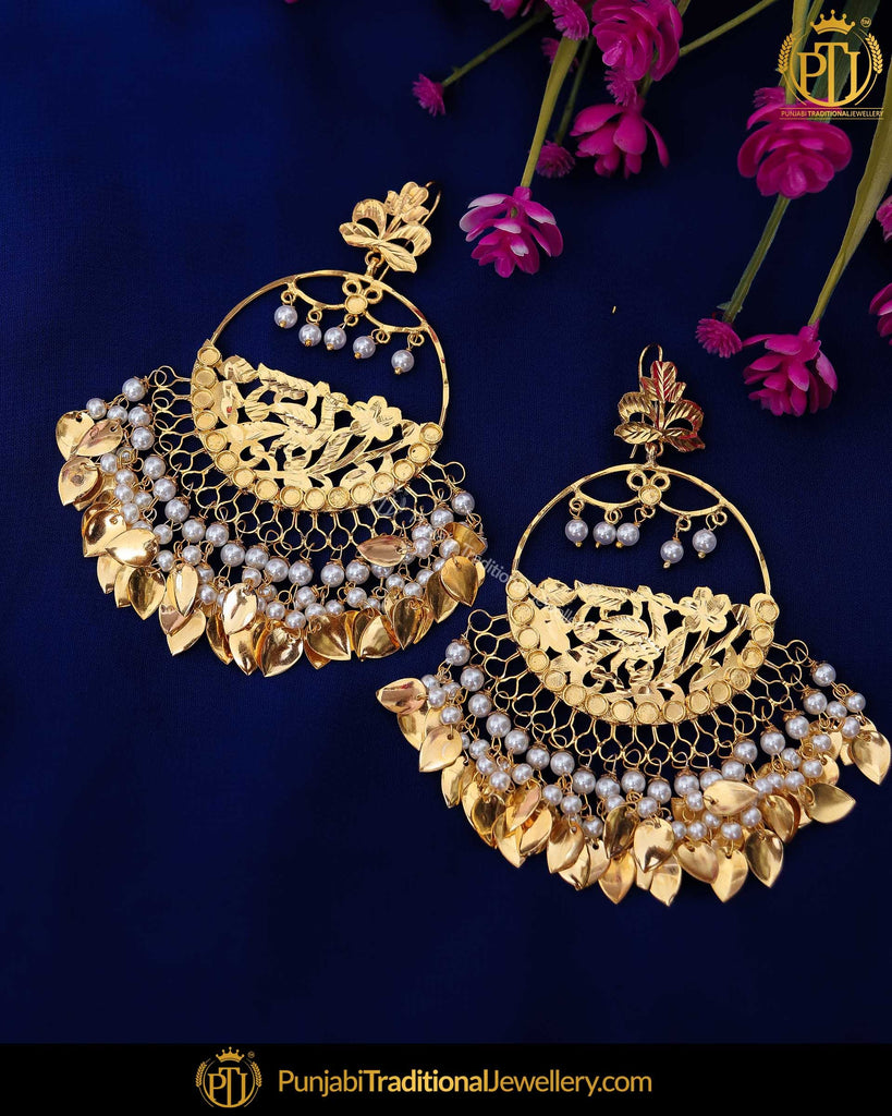 Gold Finished Pearl Pippal Patti Patra Earrrings | Punjabi Traditional Jewellery Exclusive