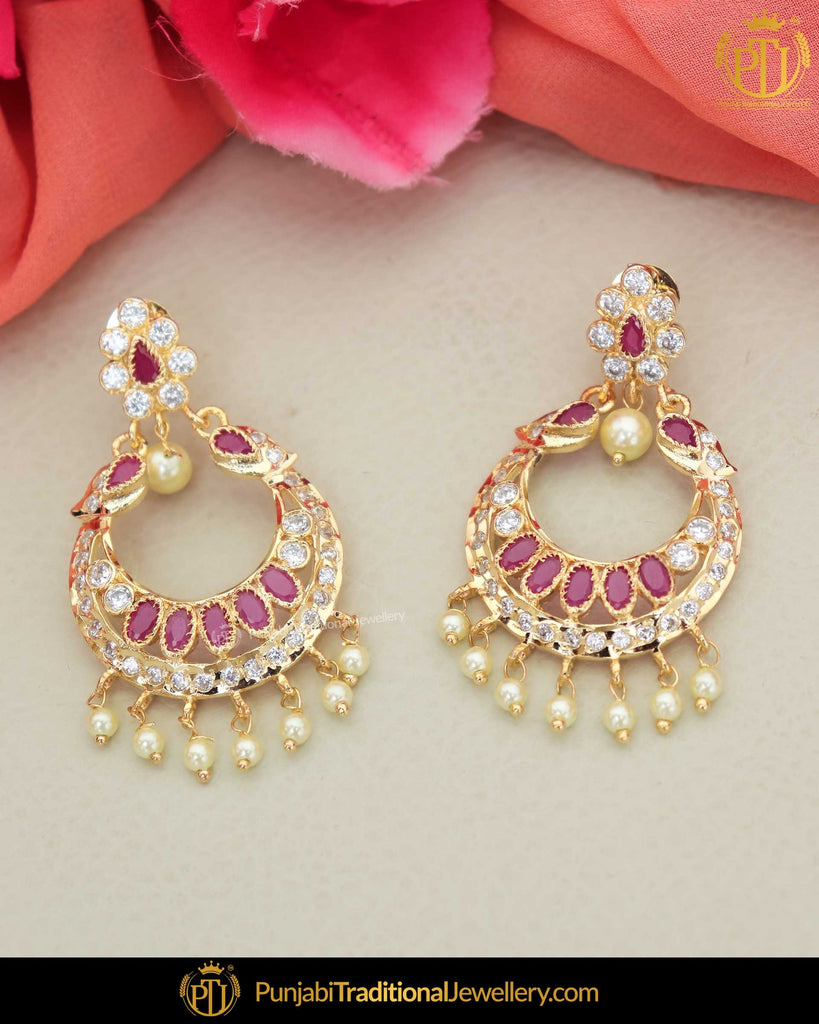 Gold Finished Rubby Jercon Pearl Earrings | Punjabi Traditional Jewellery Exclusive