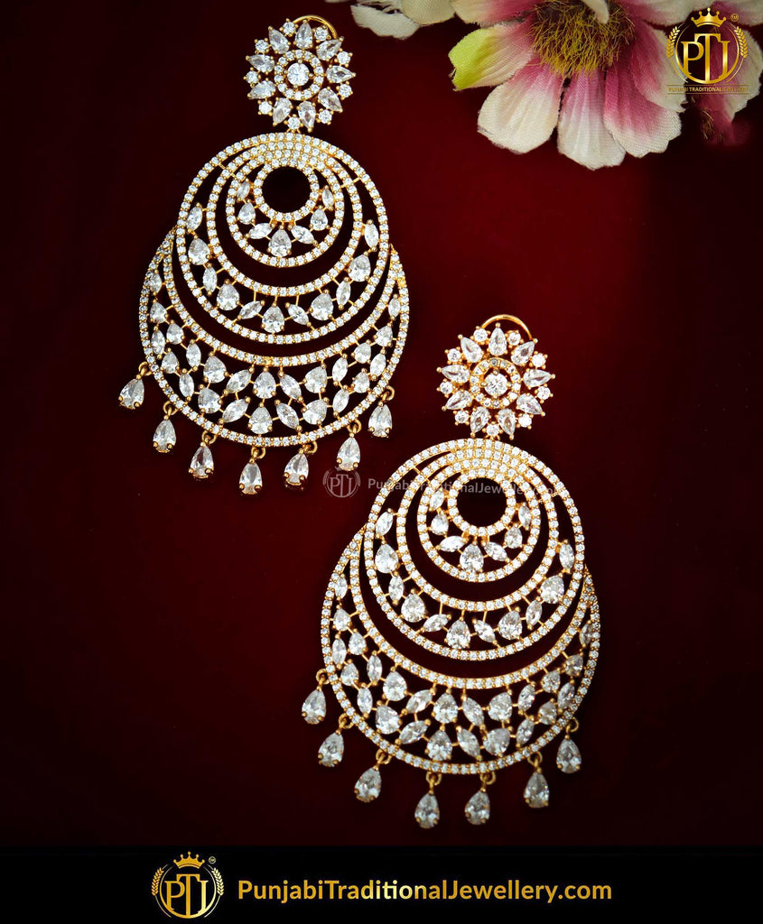 Gold Finished American Diamond Earrings | Punjabi Traditional Jewellery Exclusive