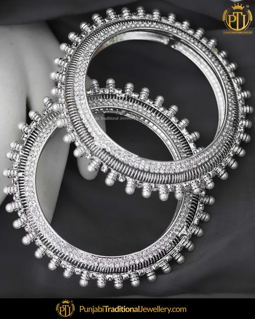 Silver Jercon Pearl Karra Bangles (Both Hand Pair) | Punjabi Traditional Jewellery Exclusive