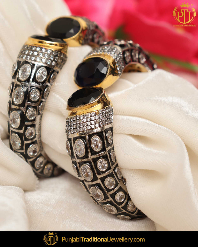 Hand Painted Black Menna Polki Karra Bangles (Pair)| Punjabi Traditional Jewellery Exclusive