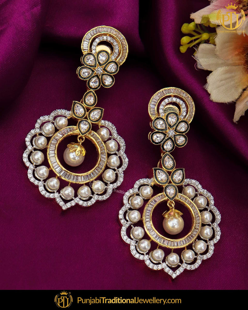 Gold Finished Amrican Diamond Pearl Earrings | Punjabi Traditional Jewellery Exclusive