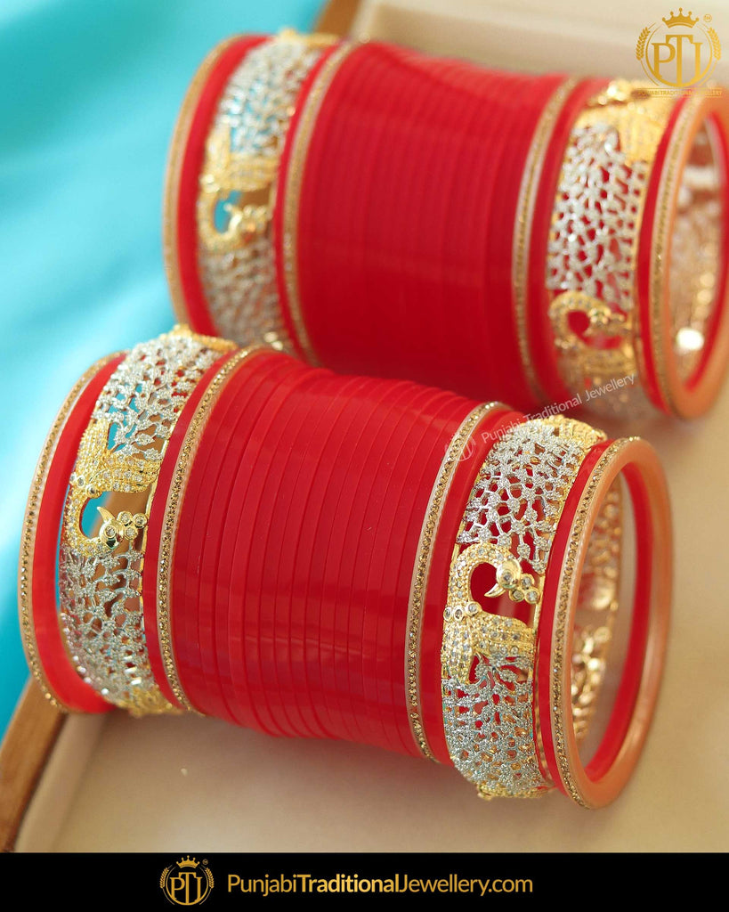 Red Amrican Diamond Bridal Chura | Punjabi Traditional Jewellery Exclusive
