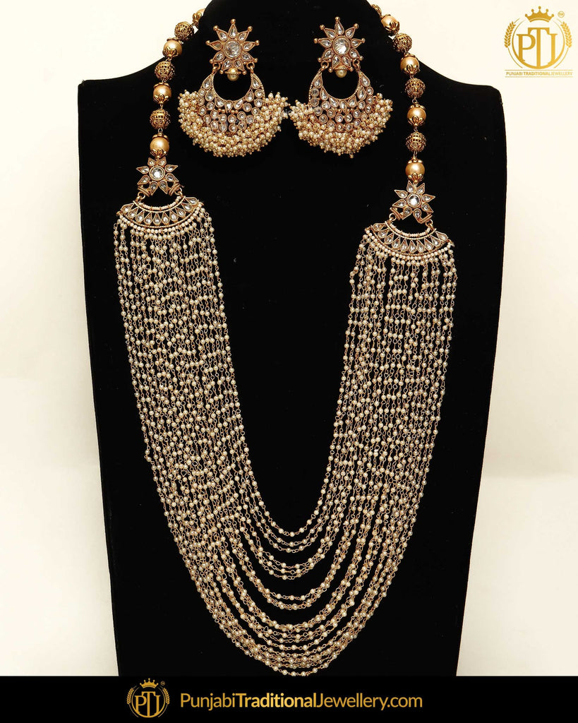 Gold Finished Chamapgne Stone Pearl Long Necklace Set | Punjabi Traditional Jewellery Exclusive