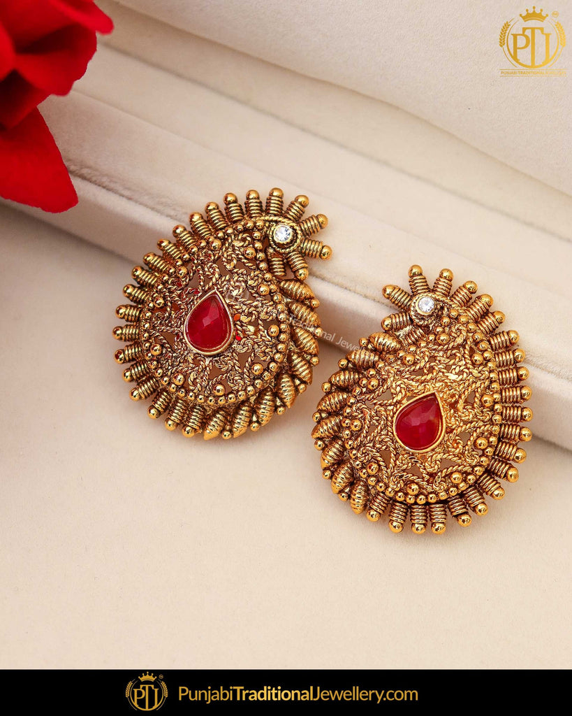 Antique Gold Finished Rubby Stud Earrings | Punjabi Traditional Jewellery Exclusive
