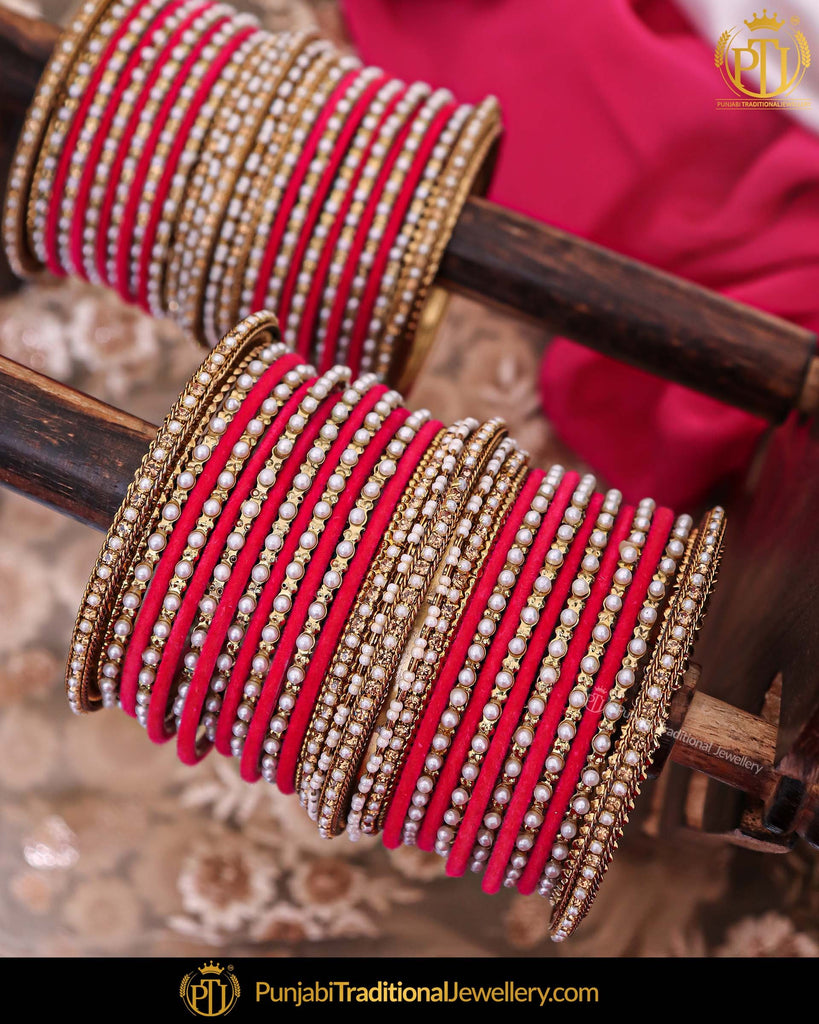 Red Kundan Pearl Bangles Set For Both Hands | Punjabi Traditional Jewellery Exclusive