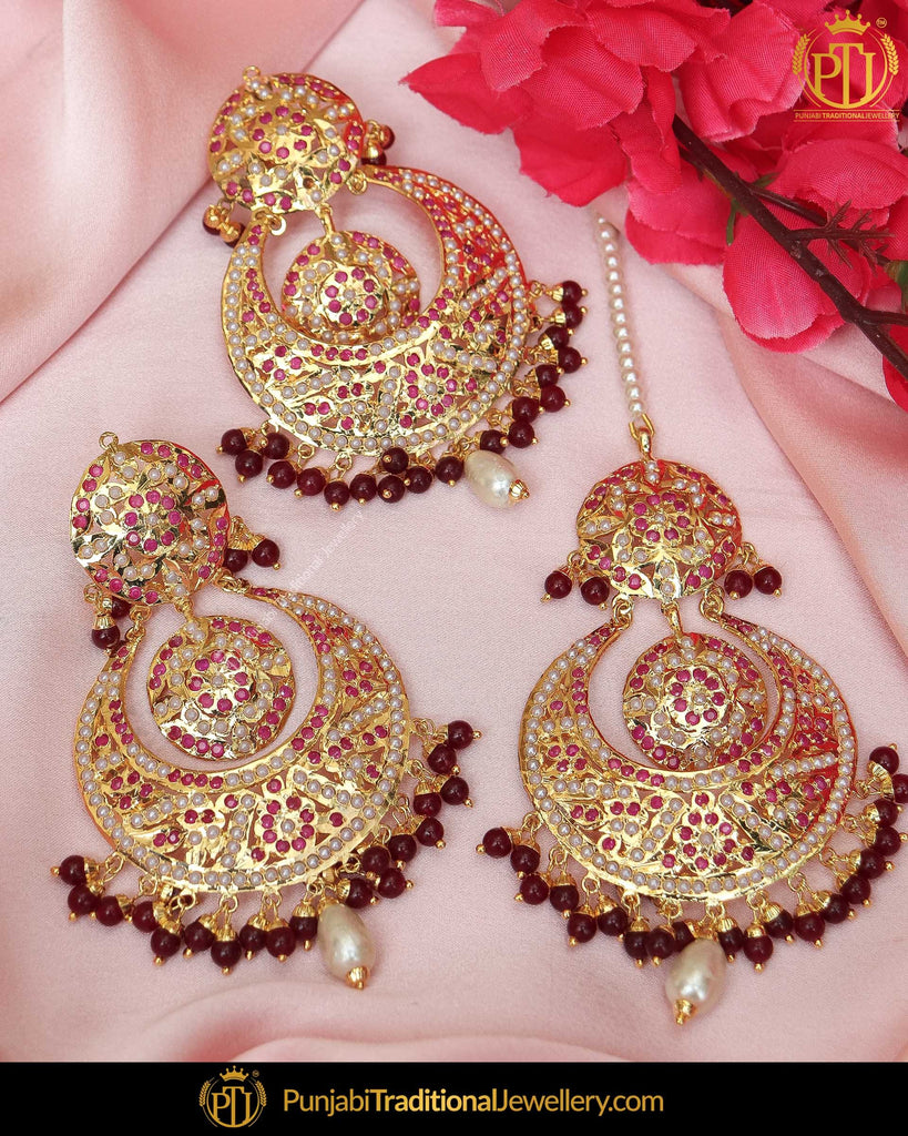 Gold Finished Red Jadau Pearl Earring Tikka Set  | Punjabi Traditional Jewellery Exclusive