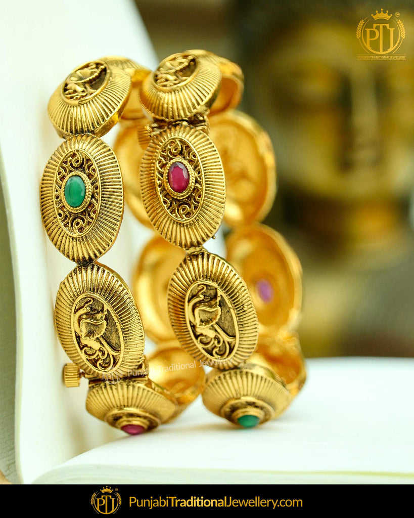 Antique Gold Plated Rubby Green Openable Bangles (Pair) | Punjabi Traditional Jewellery Exclusive