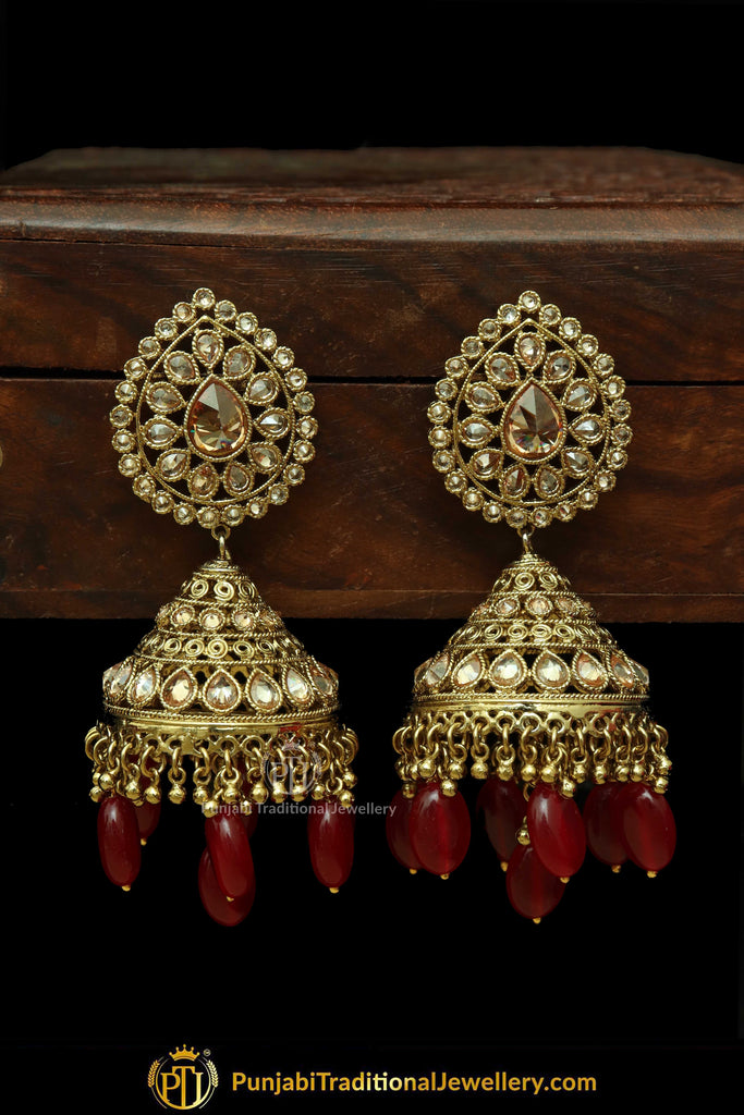 0719eb31c Gold Finished Red Jhumki Champagne Stone Earrings | Punjabi Traditional  Jewellery Exclusive