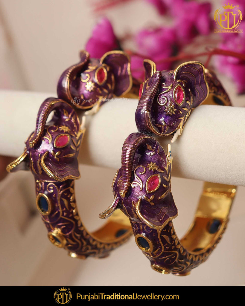 Hand Painted Purple Menna Rubby Polki Karra Bangles (Pair)| Punjabi Traditional Jewellery Exclusive