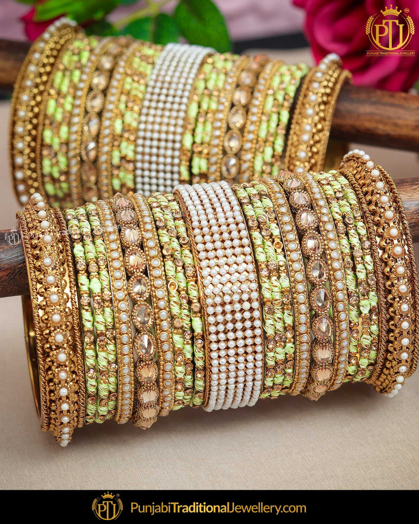 pistachio champagne stone theek Bangles Set (Both Hand Pair) | Punjabi Traditional Jewellery Exclusive