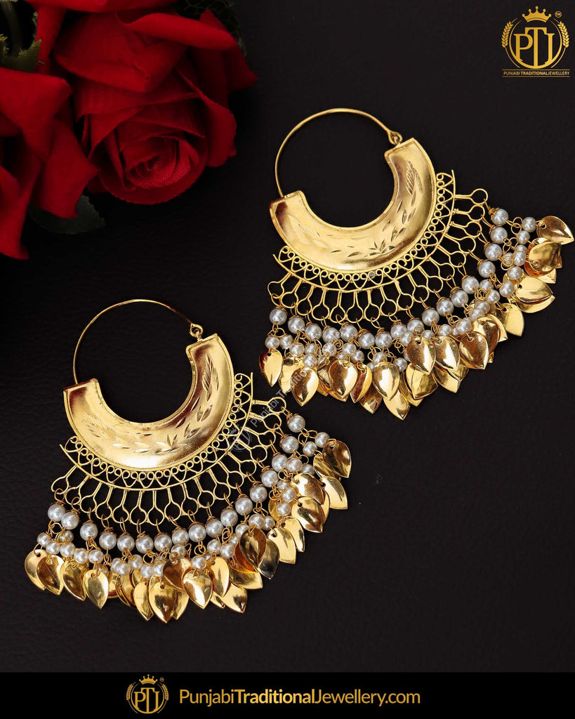 Gold Finished Pearl Bali Pippal Patti Patra Earrrings | Punjabi Traditional Jewellery Exclusive