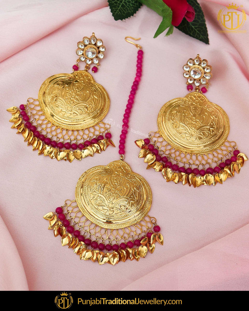Gold Finished Pink Pippal Patti Pearl Patra Kundan Earrings & Tikka Set | Punjabi Traditional Jewellery Exclusive