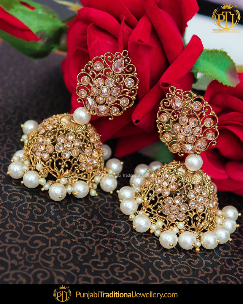 Gold Finished Chamapgne Stone Jhumki Earrings | Punjabi Traditional Jewellery Exclusive