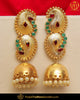 Gold Finished Emerald Rubby Patra Pearl Jhumki Earrings | Punjabi Traditional Jewellery Exclusive