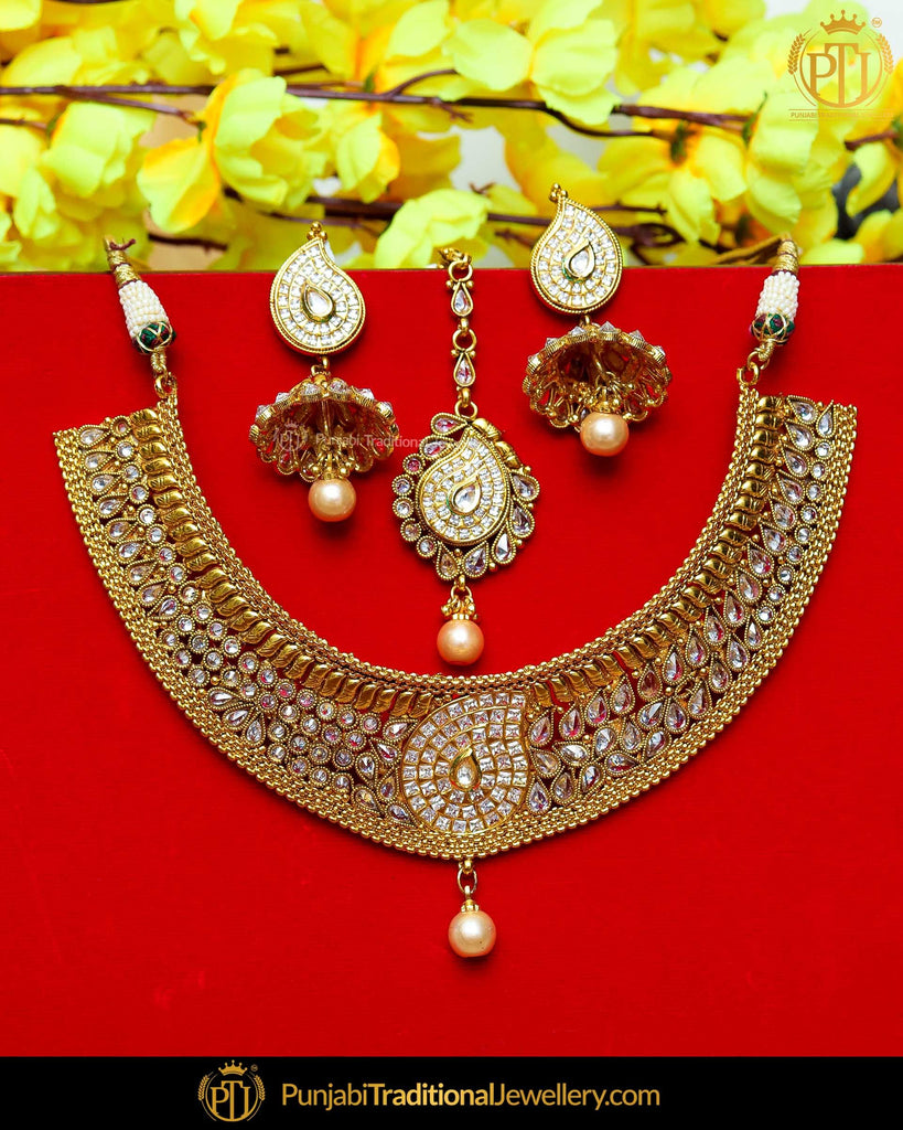 Antique Gold Finished Polki Stone Pearl Johda Necklace Set  | Punjabi Traditional Jewellery Exclusive