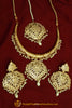 Hayfa Gold Finished Hasli Necklace, Tikka & Earrings | Punjabi Traditional Jewellery Exclusive