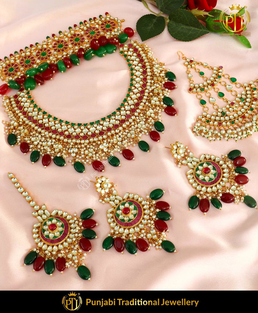 Kundan Rubby Emerald Pearl Bridal Necklace Set With Passa | Punjabi Traditional Jewellery Exclusive