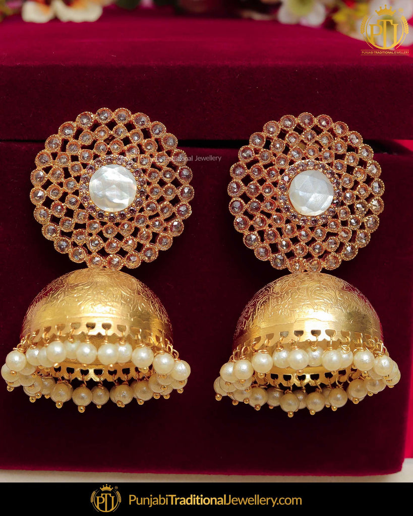 Gold Finished Champagne Stone Jhumki Pearl Earrings | Punjabi Traditional Jewellery Exclusive