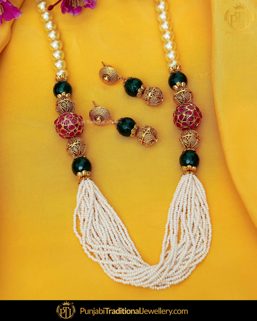 Antique Gold Finished Rubby Emerald  Johda Long Set  | Punjabi Traditional Jewellery Exclusive