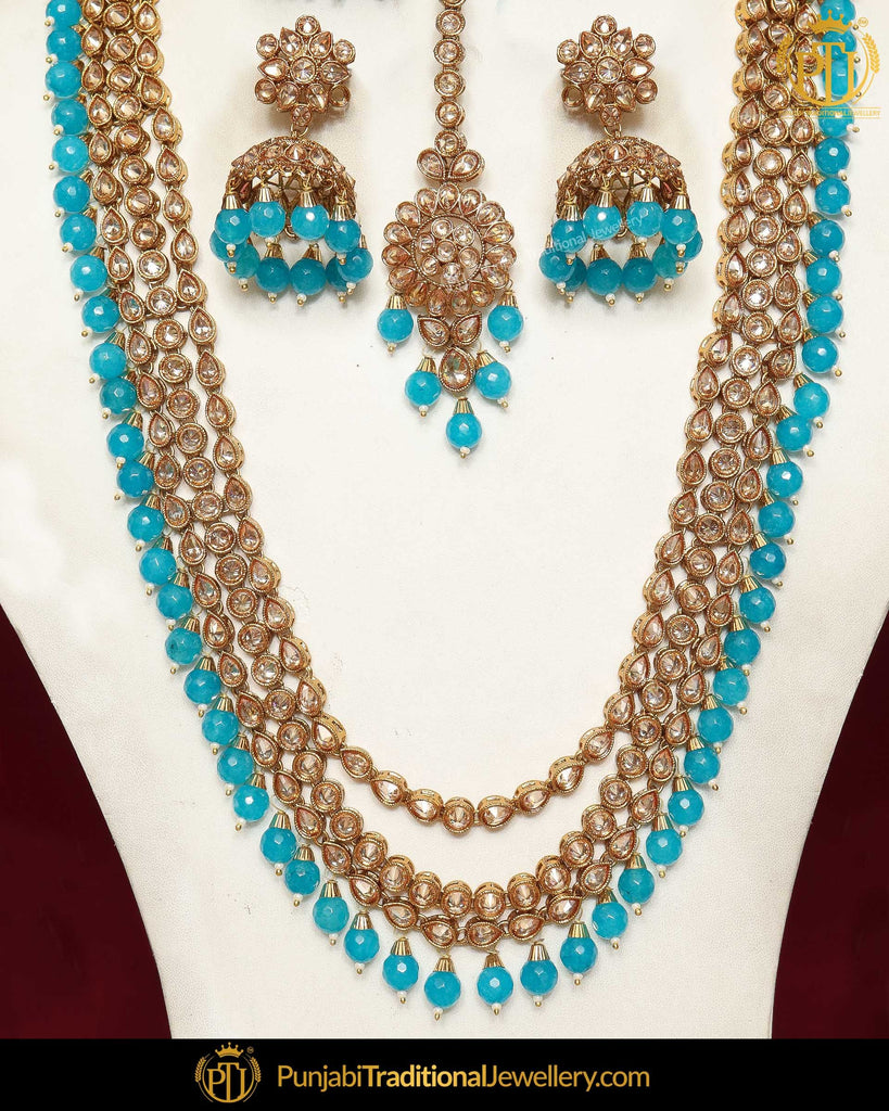 Gold Finished Firozi Chamapgne Stone Pearl Necklace Set | Punjabi Traditional Jewellery Exclusive