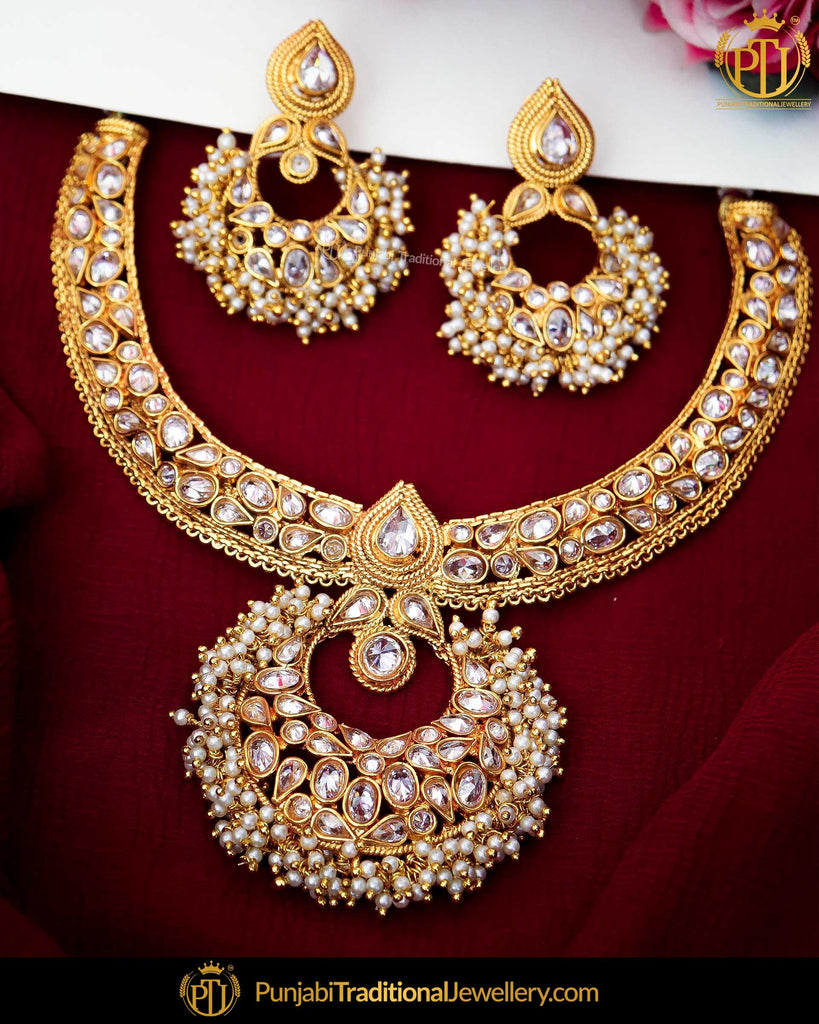 Antique Gold Finished Champagne Stone Pearl Necklace Set  | Punjabi Traditional Jewellery Exclusive