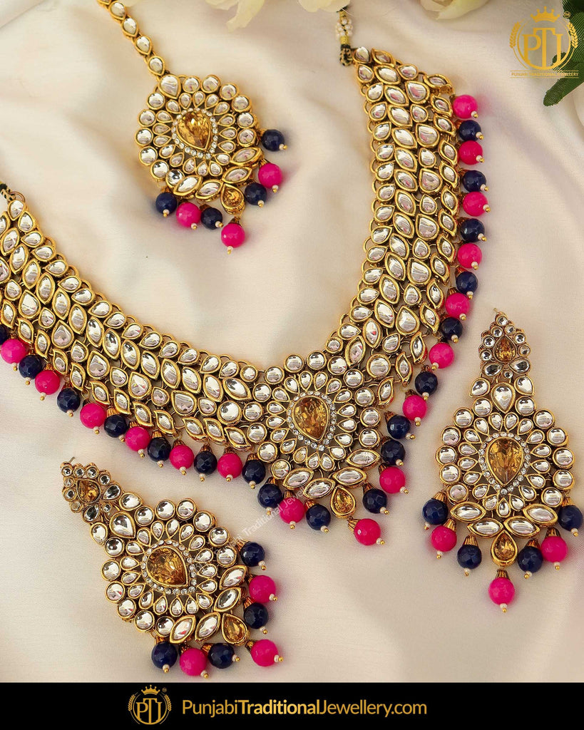 Gold Finished Blue Pink Kundan Pearl Necklace Set | Punjabi Traditional Jewellery Exclusive
