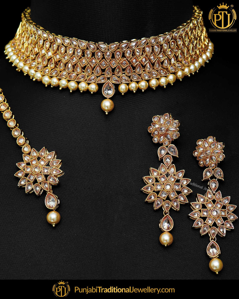 Gold Finished Champagne Stone Pearl Choker Necklace Set  | Punjabi Traditional Jewellery Exclusive