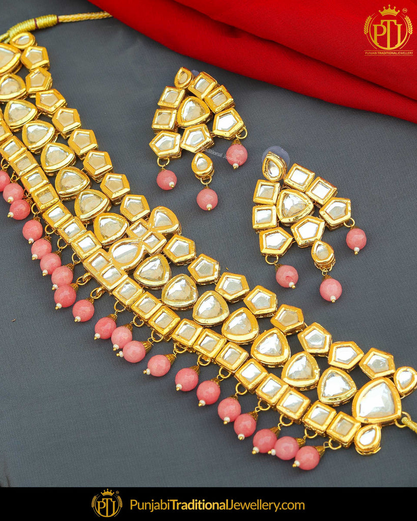 Gold Finished Baby Pink Kundan & Pearl Choker Necklace Set | Punjabi Traditional Jewellery Exclusive
